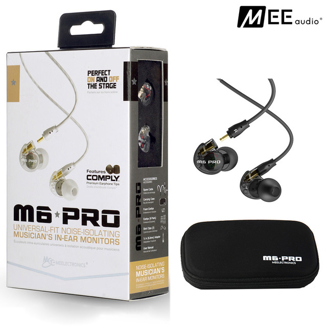 2016 New MEE Audio M6 PRO Noise-isolating HiFi In-Ear Monitors Earphones with Detachable Cables Free Shipping also have SE215  in stock 24hrs ship black white wired mee audio m6 pro noise isolating earphones in ear monitors headphones headset with box