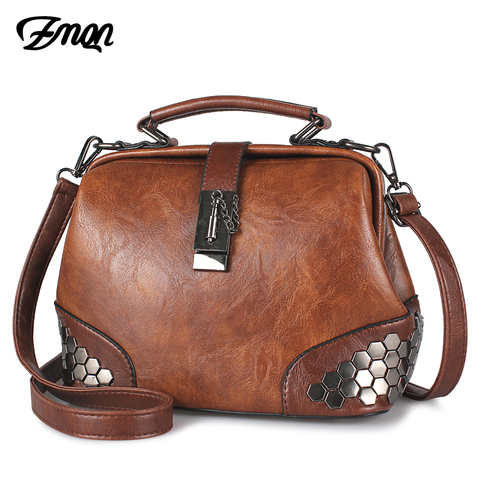 Bolsas para as Mulheres Bolsa de Ombro 2020 do Vintage Zmqn Feminino Barato Bolsa Senhora Pequenos Bolsas Crossbody Couro Rebite Médico C229
