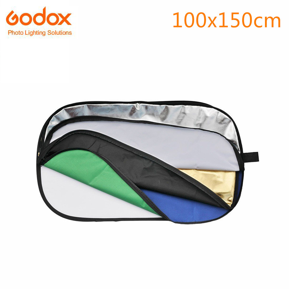 Godox 7-in-1 100x150cm Oval RFT-10 Collapsible Photo Light Reflector Disc gold silver black white translucent blue green средство защиты из сетки еас 100x150cm green