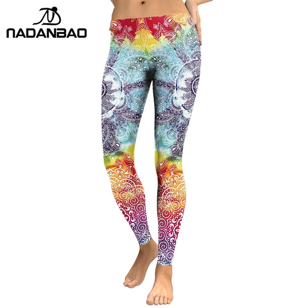 NADANBAO Women   Leggings   Mandala Flower 3D Printed Fitness Leggins Slim High Waist Elastic Trousers Pants Legins
