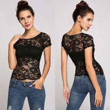 Sexy T-shirt Female 2017 Summer Women T-shirts O-Neck Short Sleeve Solid White Black Lace T Shirt Women Tops Tee Tshirt