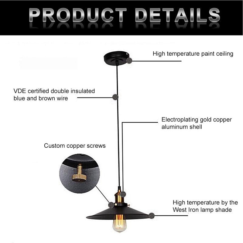 Image 2 - Vintage Industrial Pendant Light Retro Ceiling Lamp Nordic Iron Lampshade Loft Edison Lamp for Dining Room Lamp Restaurant Bar-in Pendant Lights from Lights & Lighting