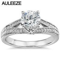 1CT Moissanites Solid 14K White Gold Rings For Women Eternal Pave Split Shank Lab Grown Diamond Engagement Ring Annicersary Ring