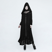 Steampunk Women Casual Loose Hooded Long Coat Punk Fashion Casual Long Sleeve Cotton Black Overcoats With Zipper