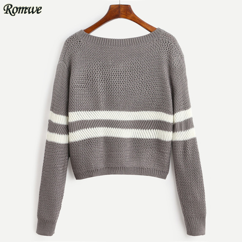 ROMWE Casual Pullover Sweaters For Women 2016 New Arrival Autumn ...