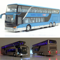 3 Types 1 Pcs High Quality 1:43 Alloy Pull Back Bus Model Simitation Double Sightseeing Bus Flash Toy Vehicle Gift Children No.2