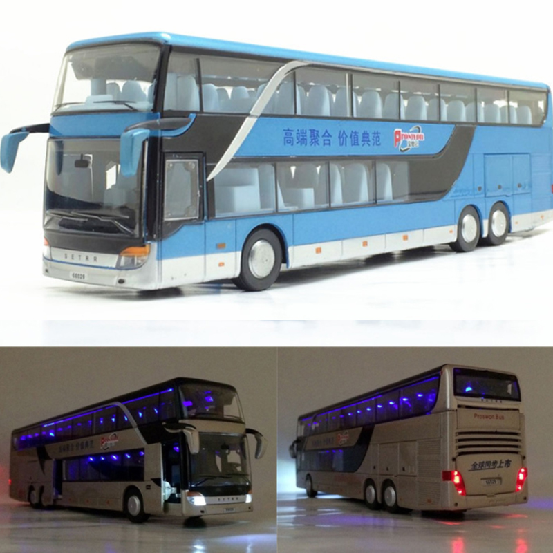 3 Types 1 Pcs High Quality <font><b>1:43</b></font> Alloy Pull Back Bus <font><b>Model</b></font> Simitation Double Sightseeing Bus Flash Toy Vehicle Gift Children No.2 image