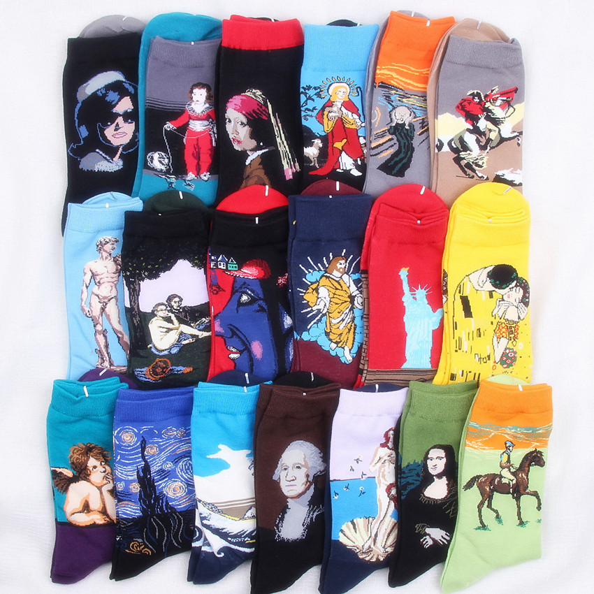 Hot Starry Night Spring Autumn Winter Men Socks Art Cotton Van Gogh Mural Famous Oil Painting Funny Happy Sock Hip Hop
