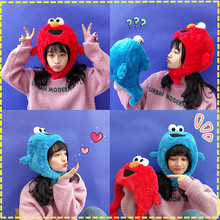 High Quality Sesame Street Elmo Cookie Monster hat cap Soft  Plush Toy Dolls stuffed toys figure A gift for a child