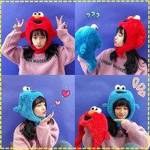цены High Quality Sesame Street Elmo Cookie Monster hat cap Soft  Plush Toy Dolls stuffed toys figure A gift for a child