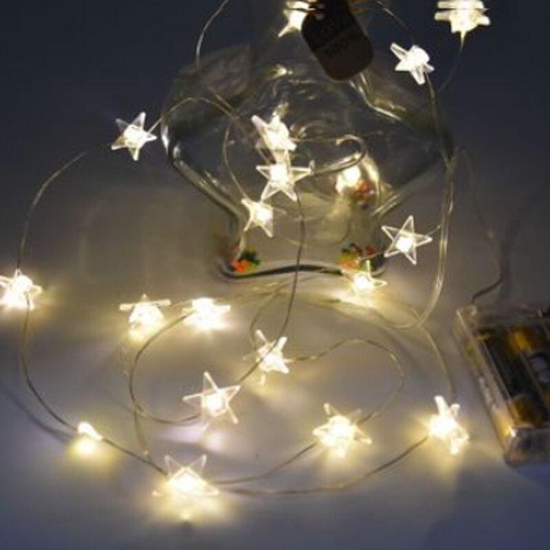 2015 New Arrival  star shape 3 X AA battery powered 2M 20 LED String Fairy Lights 10pcs/lot