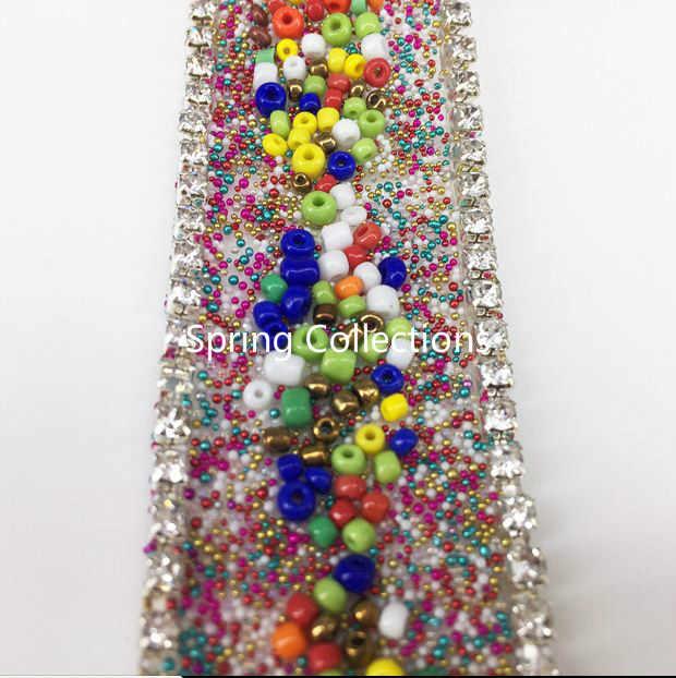 """3*100 ס""""מ צבעוני Rhinestones חרוזים שרשרת ברזל על תיקונים קריסטל ריינסטון שרשרת Applique תחרה סרט לקצץ עבור WeddingDress"""