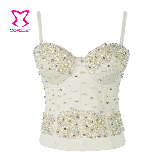 dcc19dd1742 Corzzet White Black Bustier Pearls Diamond Push Up Night Club Bralette  Women s Dance Bra Cropped Top Vest Camis Plus Size
