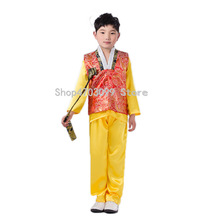 58138dfeea3b Boys Stage Performance Costume Hanbok Dress Full Sleeve Traditional Korean  Clothes Suit Printed Cosplay Clothing Size