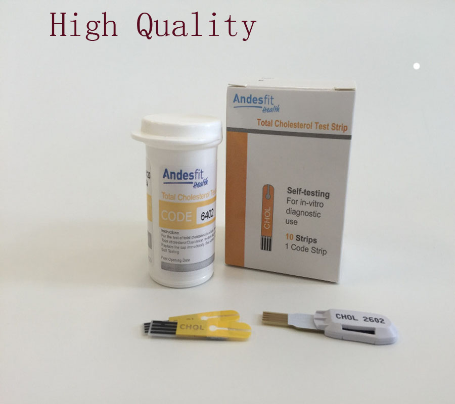 New Arrival CE Approved 10 Pieces Cholesterol Test Strips for CE Bluetooth 4.0 Glucose / Cholesterol 2in1 Meter monitor