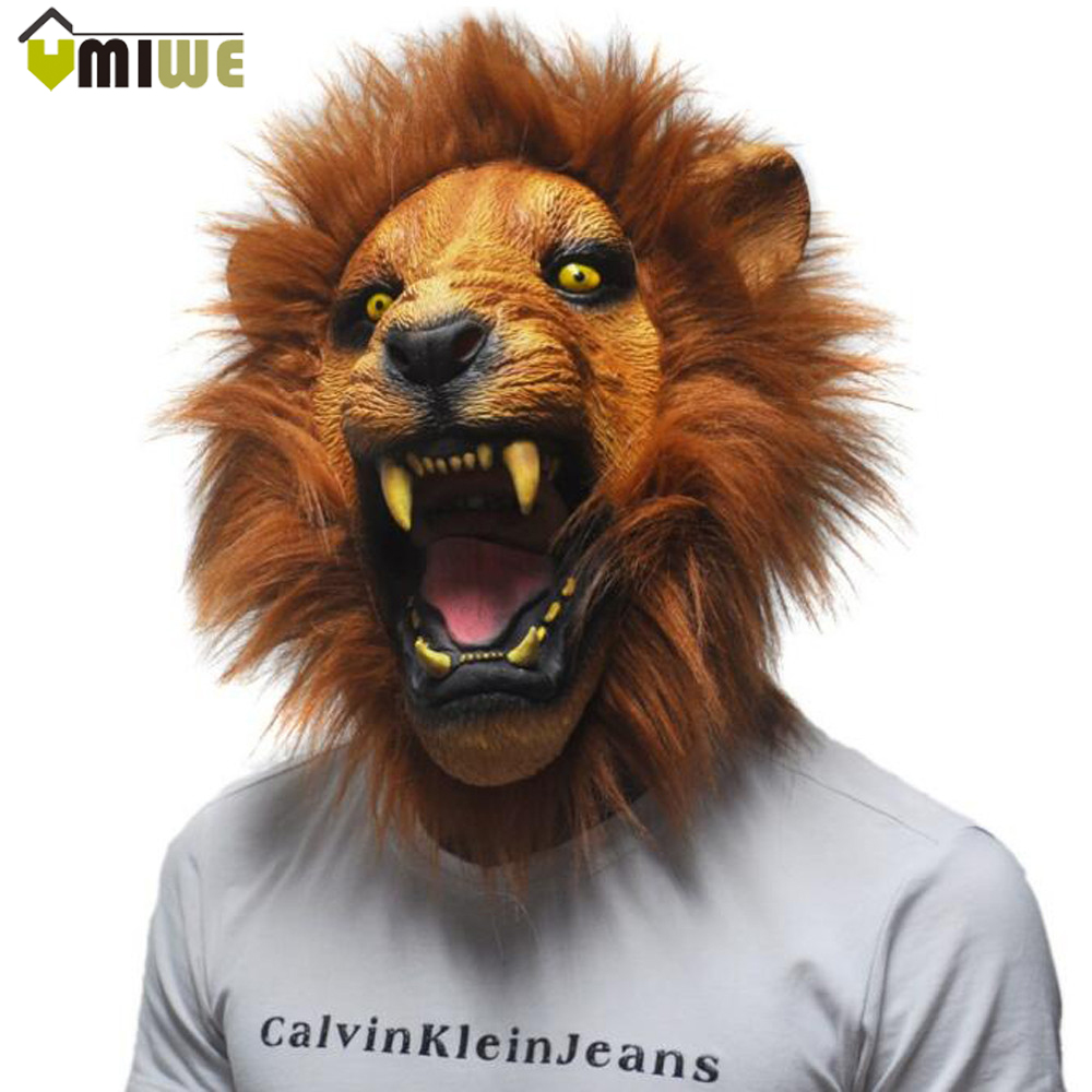 Latex Mask Realistic 2016 Halloween Horror Scary Mask Full Face Ferocious Angry Lion Head Animal Masquerade Party Silicon Mask