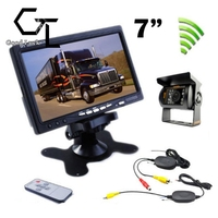 RC 12V 24V Truck Rear View Wireless Night Vision Backup Camera Kit + 7 TFT LCD Monitor Waterproof High Solution 420 TVL