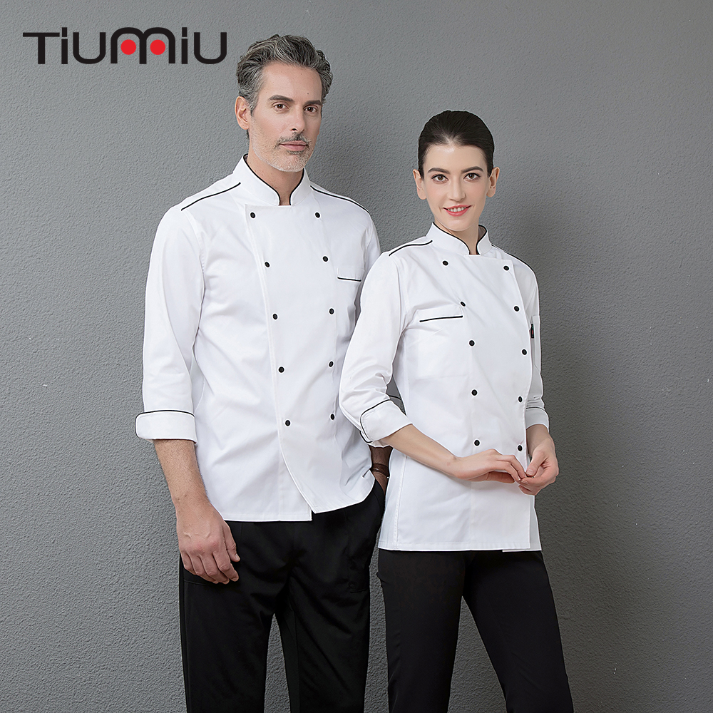 High Quality White Top Chef Restaurant Kitchen Long Sleeve Work Jacket Men Cooking Wear Double Breasted Cozinha Uniform Clothing