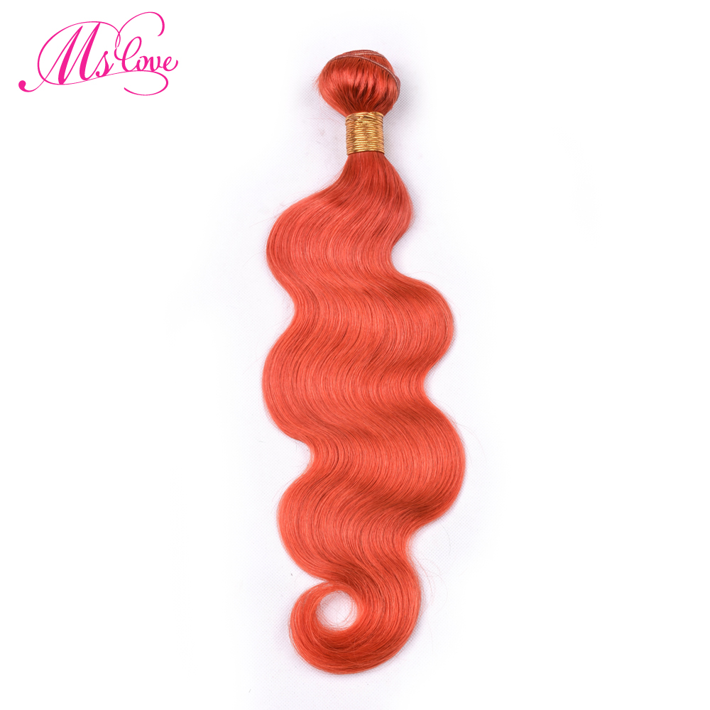 Ms Love Pre Colored Orange #350 Human Hair Bundles Body Wave Hair Extensions 1 Pcs Remy Brazilian Hair Weave 100 Gram 8-28 Inch