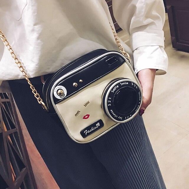 Fun mode personnalité conception caméra modélisation pu décontracté dames sac à bandoulière sac à main sac à main rabat bandoulière messenger sac