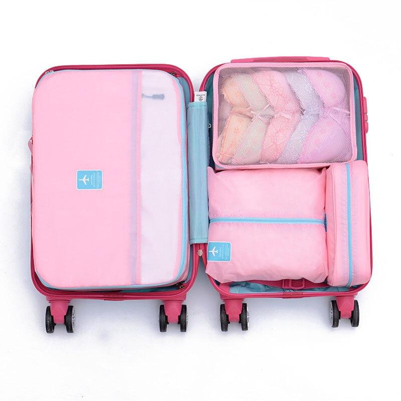 5 Mode Poche D'emballage Leave Gros Stroage En Sacs Bagages A Vêtements Valise Ensemble Organisateur Message Tidy Sac De Sets Voyage Cube lot Rose rqTrFC