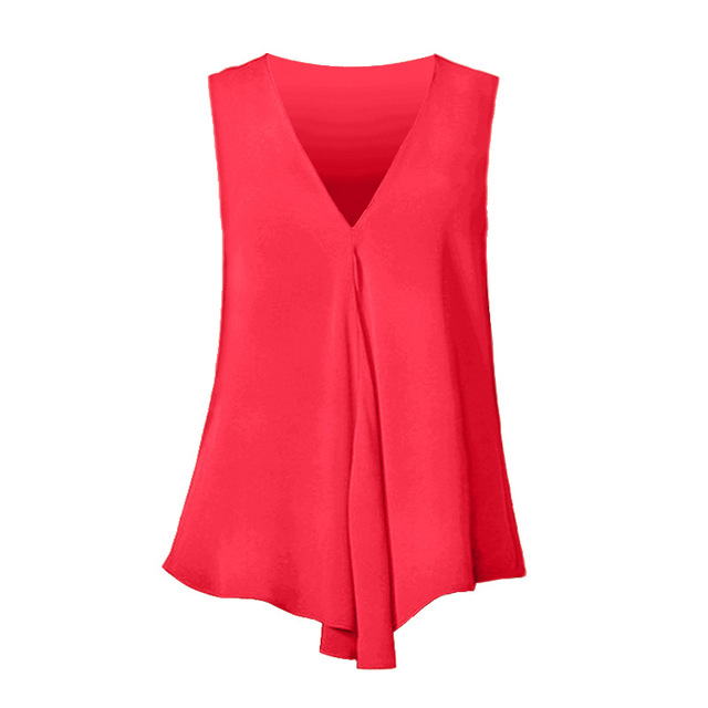 Fashion Women Chiffon Blouses Ladies Tops Sleeveless V Neck Shirt Blusas Femininas Plus Size S-6XL Female Solid Color Clothing 2
