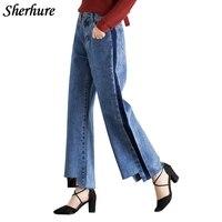 2017 Wide Leg Pants Autumn Jeans Woman High Waist Jeans Plus Size 6XL 7XL Denim Women