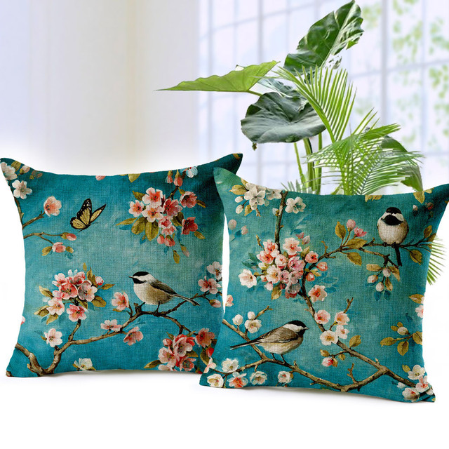 Bird and Flower Cushion Cover Vintage Garden Pillow case for home