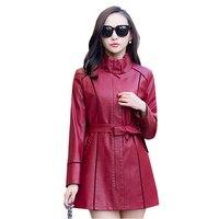 2016 Spring Autumn Plus Size Sheepskin Leather Jacket Women Leather Coat Female Faux Leather Jacket For