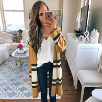 Heyouthoney New Elegant Knitted Ruffled Collar Cardigan Women Long Casual Striped Cardigan Femme Sweaters Tops Autumn