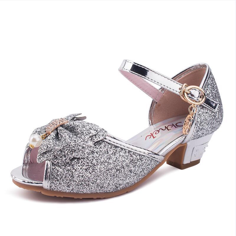 Children Sandals For Girls Weddings Girls Sandals Crystal High Heel Shoes Banquet Pink Gold Blue Gold GUINEA PIGS Brand