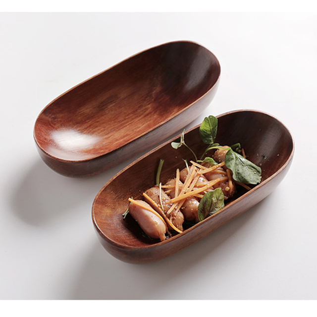 Japanese Style Dried Fruit Dish Solid Wood Tableware Food Serving Tray Desserts Snack Dishes Household Plate Dinnerware 6