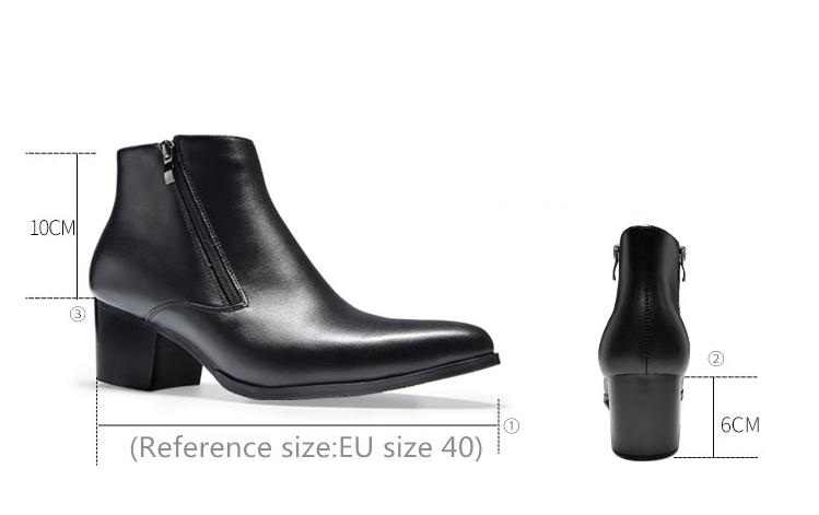 ... New fashion black pointed toe double zip mens high heels genuine  leather boots wedding shoes men ... b3dca59d99f7