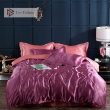 Liv-Esthete Hot Sale Luxury Silk Bedding Set Silky Duvet Cover Flat Sheet Pillowcase Queen King Bed Home Textile Wholesale