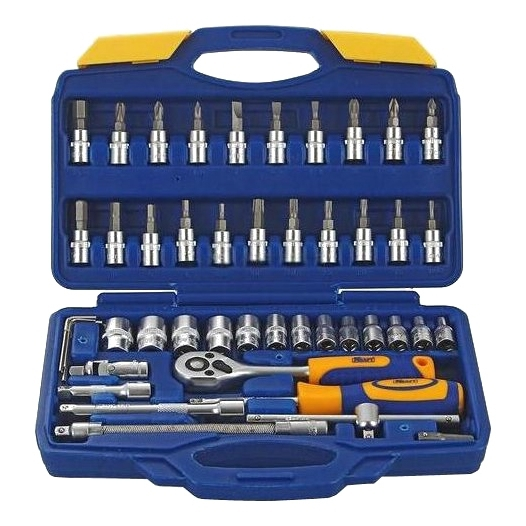 Set hand tool KRAFT CT 700618 (46 pieces, end head, ratchet, extension cords, adapter, case) цена в Москве и Питере