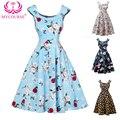 MYCOURSE Retro Style Full Flower Print Dress Women Summer Vintage 50s Audrey Hepburn Women  Floral Rockabilly Dresses Vestido