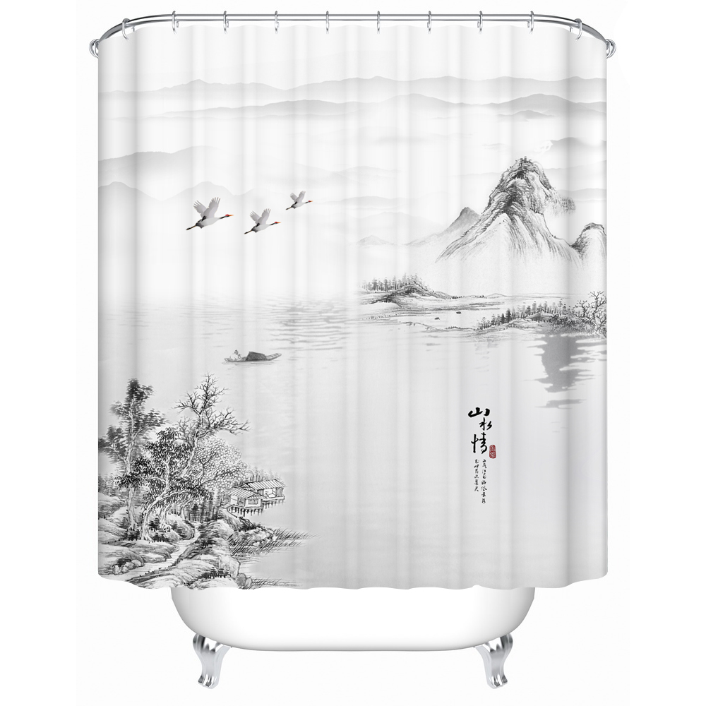 Whale Ink Painting ShowerCurtain Home WaterproofFabric 71 Inches With Hooks