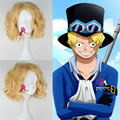 ONE PIECE Sabo Style Wig Men's Short Curly Golden Color Anime Cosplay Wig with Free cap