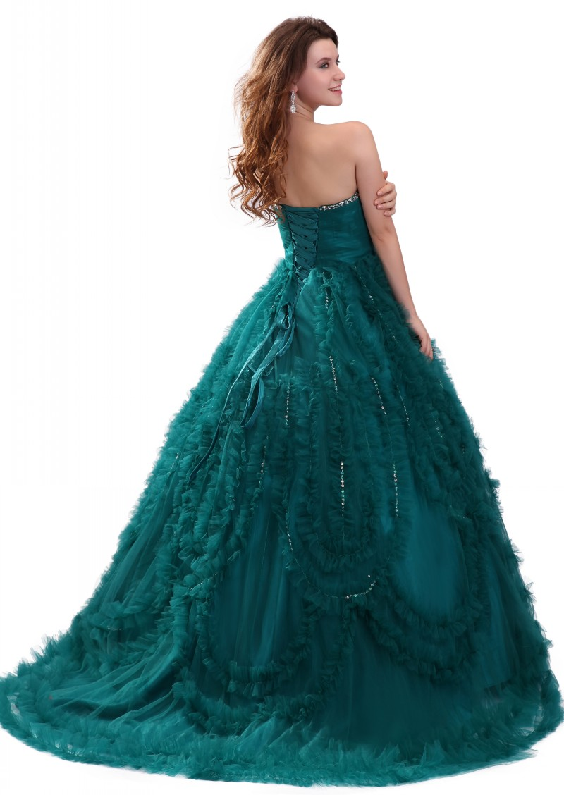Baljurk Teal Green Sweetheart Prom Dresses Tulle Crystal Empire ...