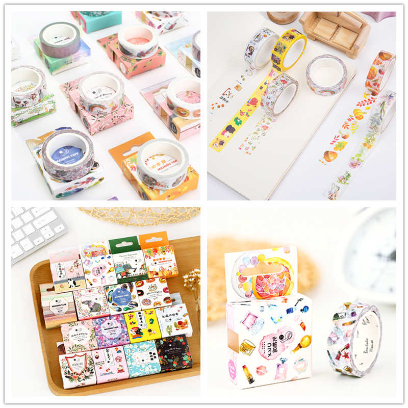 15mm x 7m kawaii washi tape cute Cosmetics pattern halloween decorative Masking Tapes School stationery Supplies christmas gift