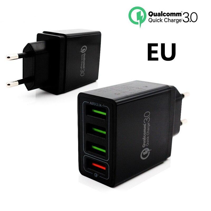 QC 3.0 6.2A Carregador de Telefone de Alta Qualidade UE/EUA Plug Parede Rápido Carregadores Cabos 4 Portas USB Rápida para iphone X Samsung Huawei Xiaomi