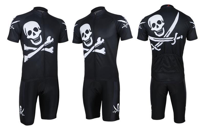 Cool Skull Mens Cycling Jersey Short Sleeve Summer Maillot Ciclismo High Quality Top Shirt & Bib Shorts Set Free Shipping