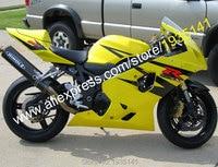 Лидер продаж, для Suzuki GSX R 600 750 K4 2004 2005 GSX R 600 750 желтый черный Aftermarket ABS мотоциклов обтекателя (литья под давлением)
