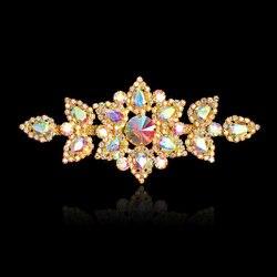 1 pièces 4.8 in * 2.6 en fleur cristal strass Applique pour robes de mariée Costumes chapeaux garnitures coudre sur argent or coudre sur Motif