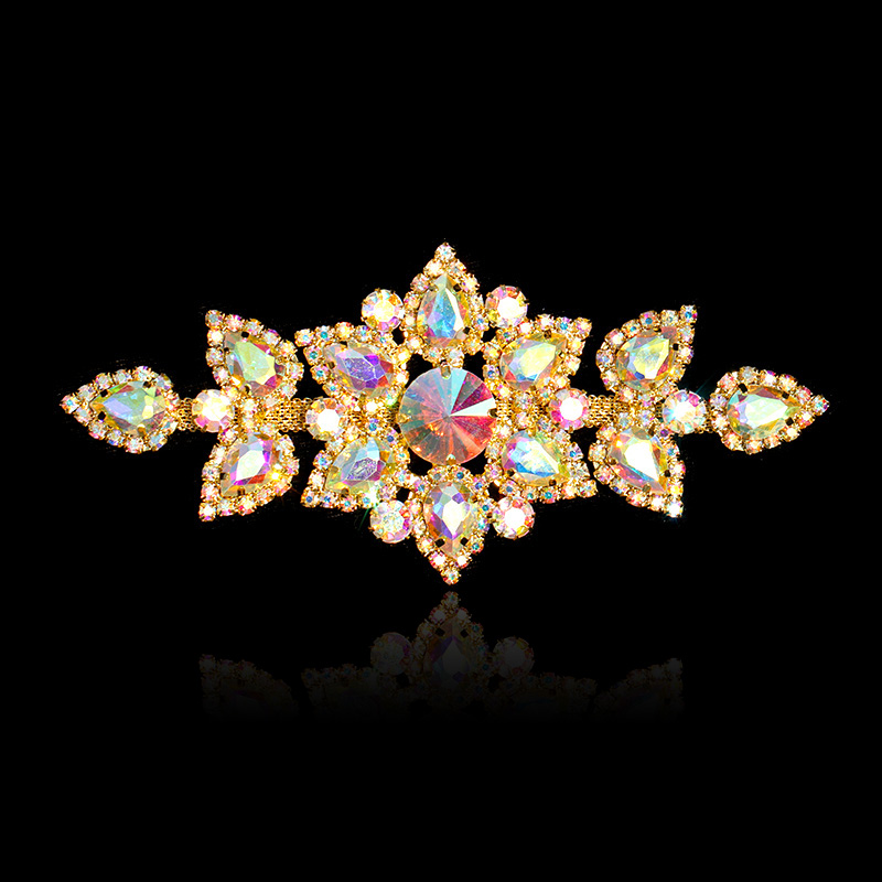 4.8 in*2.6 in Flower Crystal Rhinestones Applique for Wedding Dresses Trim Sew On Home Decor New Year Christmas Gift Silver Gold