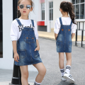 2017 spring and autumn hot fashion children's cotton denimstrap dr 2-13 year old girl simple  leather standard simple dress