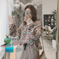 2018 Autumn And Winter Sweater Women Korean Fashion Loose Geometry Sweter Women Loose Vintage Plus Size Pulover Feminino