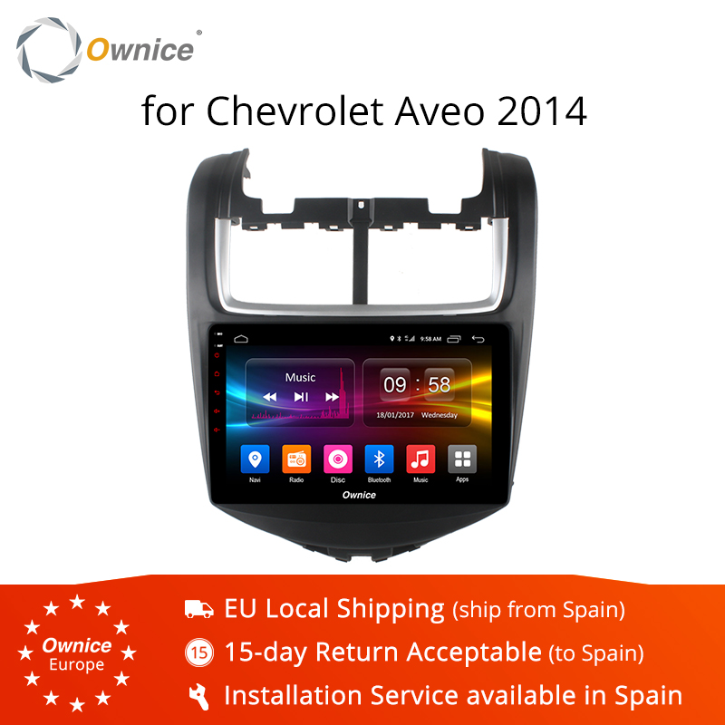 Ownice K1 K2 Android 8.1 lecteur radio huit cœurs gps navi pour Chevrolet AVEO 2011 2014 2 GB RAM 32 GB ROM 4G carte SIM DVD