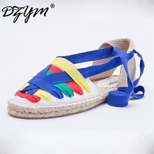 DZYM 2017 Summer Moccasin Patchwork Flats Women Cross-Strap Canvas Espadrilles High Quality Fisherman Shoes Sapato Feminino