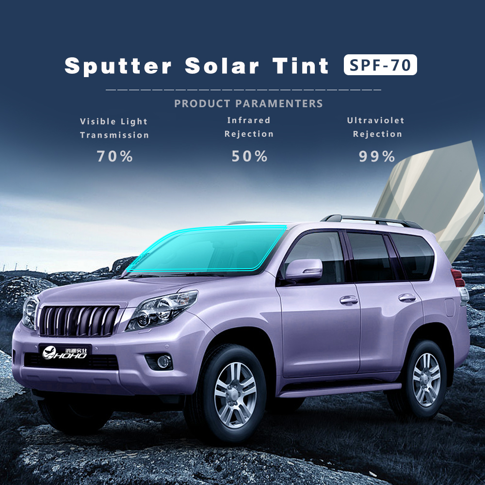 Lumière or Sputter solaire teinte Film Auto-adhésif autocollant autocollants Auto voiture avant/côté fenêtre teinte Film 70% VLT avec taille 152x100 cm